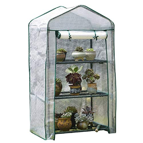 Outdoor Portable Mini PE Greenhouse Tent, Antifreeze and Rainproof Shed, Greenhouse Indoor Garden Warm Shed, Roll Zipper Door, with 3 and 4 Shelves (Color : 69X49X125cm)