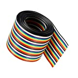 6.7ft/2m 40 Wire Rainbow Color Flat Ribbon IDC Wire Cable Flat Ribbon Cable Rainbow IDC Wire 1.27mm Pitch (40pin-2M)