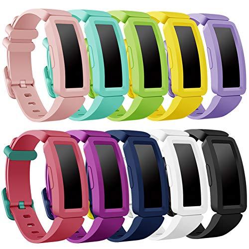 Onedream Kompatibel für Fitbit Ace 2 Armband Kids, Klassische Sport Band Silikon Ersatzzubehör Armbänder Kompatibel für Fitbit Ace 2 & Inspire HR Kinder (10p)