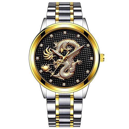 SANDA Reloj Mujer,Reloj de Banda de Acero de aleación con patrón en Relieve Casual para Hombres de Estilo Chino-Oro con Concha Plateada y Superficie Negra