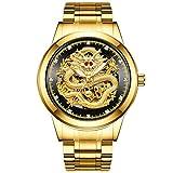 Desconocido Reloj mecánico para hombre, color dorado y negro