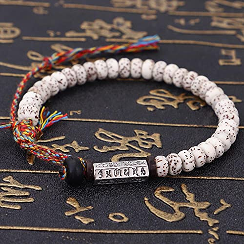 Tibetano Budista Trenzado Xingyue Bodhi Bead Bead Pulsera Hilo Hecho A Mano Hilo De Algodón Lucky Knots Pulsera Six Ture Palabal Encanto