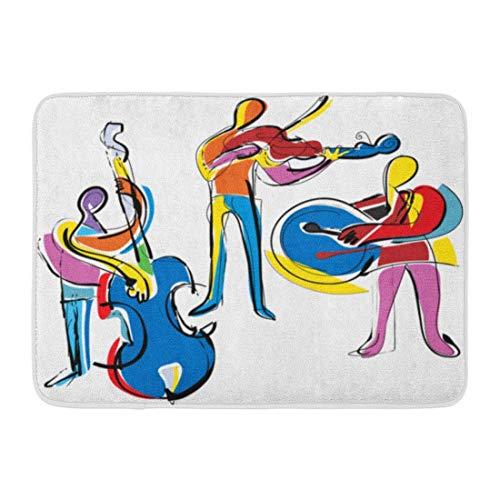 Fußmatten Bad Teppiche Outdoor/Indoor Fußmatte Bunte Musik Popart Abstrakte Musiker Jazz Malerei Kubismus Violine Badezimmer Dekor Teppich Badematte