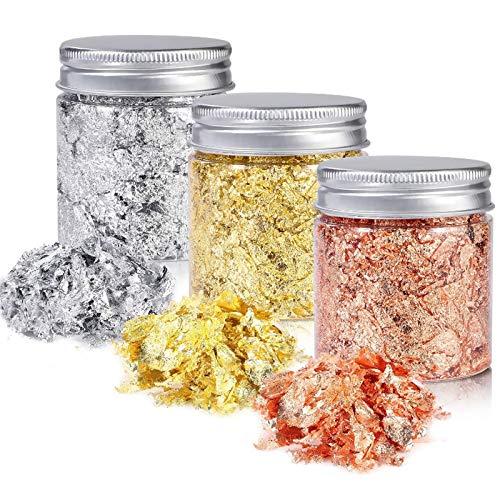 RBNANA Blattgold (3 Flaschen), Gold, Silber, Kupferfarben, Metall-Flocken für Malerei, Handwerk, Harzschmuckherstellung (5 g/Flasche)