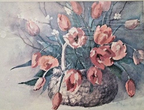 """Dimensions Cross-Stitch Kit #3614""""Spring Tulips"""" from The 1986 Gallery Collection Measures 16""""x12"""" Without Mat~ No Counting Necessary Vintage Retired and Discontinued by Manufacturer ~ Made in USA"""
