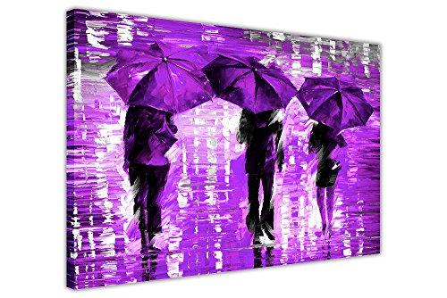 Landschap 3 lavendel paraplu's van Leonid Afremov op canvas, afbeeldingen klaar ingelijst afdrukken Home Deco Poster Grootte: A1-86,4 x 61 cm (86 cm x 60 cm)