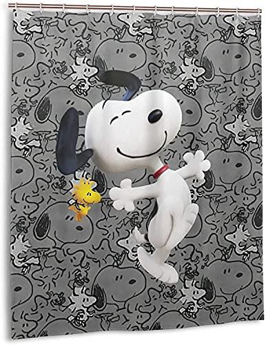 Snoopy Naughty Cartoon Anime Duschvorhang Badezimmer Dekor Exquisite Schimmelresistent Wasserdicht Extra Lang Badvorhang mit 12 Haken