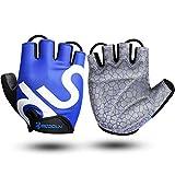 Guantes de Bicicleta Medio Dedo Negro SBR Acolchado Absorción de Impactos Adecuado para Todos Los Deportes Azul XXL by KONVINIT