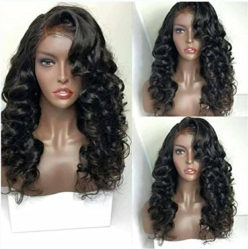 Lace Front Wigs, Afro Curly Synthetic Hair Heat Resistant Fiber with Baby Hair for Women, Natural Black 20inch