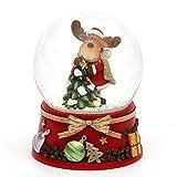 Dekohelden24 Bola de Nieve con Alce y Base roja. Dimensiones (Largo x Ancho x Alto): 7 x 7 x 8,5 cm. Diámetro de la Bola: 6,5 cm.