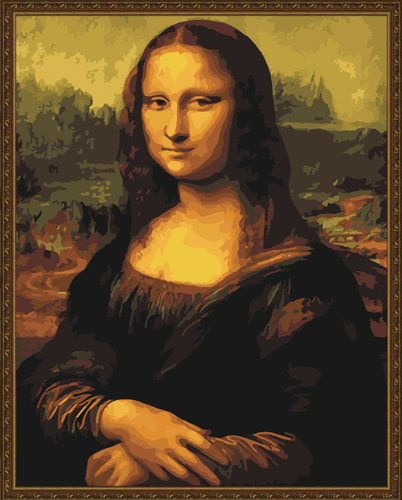 Diy oil painting, paint by number kit- worldwide famous painting Mona Lisa Smile by Leonardo Da Vinci 16x20 inch