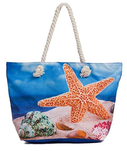 Leisureland Large Beach Tote Bag, Top Zipper Boat Bag (Starfish)