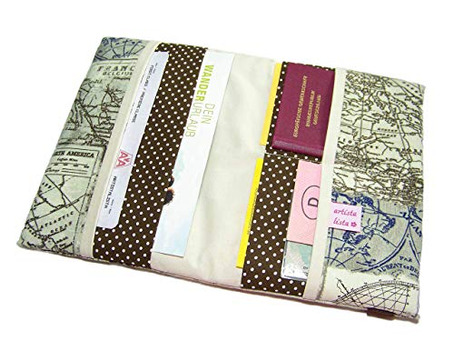 Reiseorganizer Nautik Reiseetui Travel Organizer Etui für Dokumente Reiseunterlagen/Seekarte/Kompass/Kontinent/Antik/Segler
