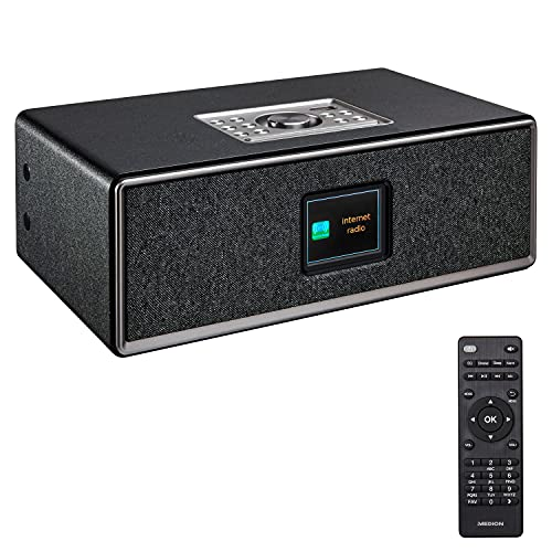 MEDION Life P85700 All in One Audio System (Internetradio, DAB+, UKW Radio, Bluetooth, Wandhalterung, USB, Kompaktanlage, Wecker, Nachtlicht) schwarz
