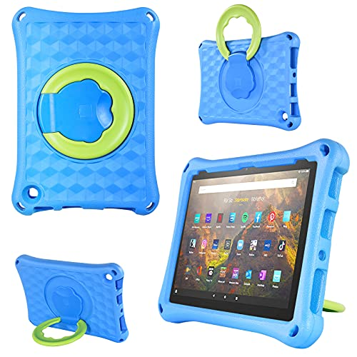 Fire HD 10 Tablet Case (2021 Released),Fire HD 10 Tablet Case 11th Generation and Fire HD 10 Plus Case, Lightweight EVA Kids Friendly Shockproof 360 Rotating Grip Handle Folding Stand Cover for Kids