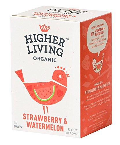 Higher Living Erdbeern & Wassermelone Kräuterteemischung, 15 Teebeutel, 4er Pack (4 x 22 g)