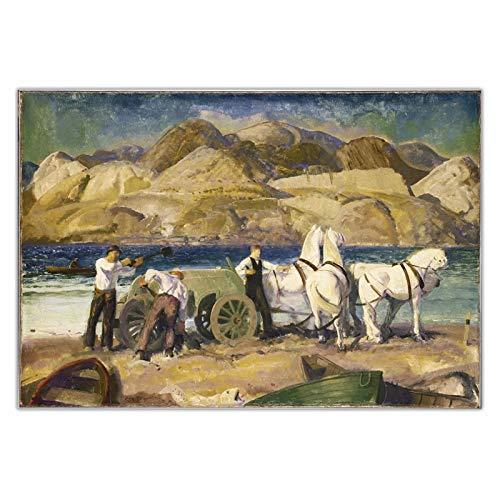 FACAIA George Bellows - The Sand Cart - Impressão de pôster de arte de pintura a óleo em tela - 60 x 90 cm sem moldura
