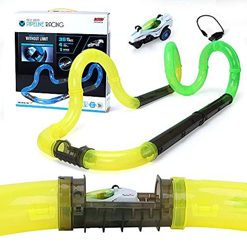 Lekebaby Circuito de carreras eléctrico con coche RC de alta velocidad, juguete...