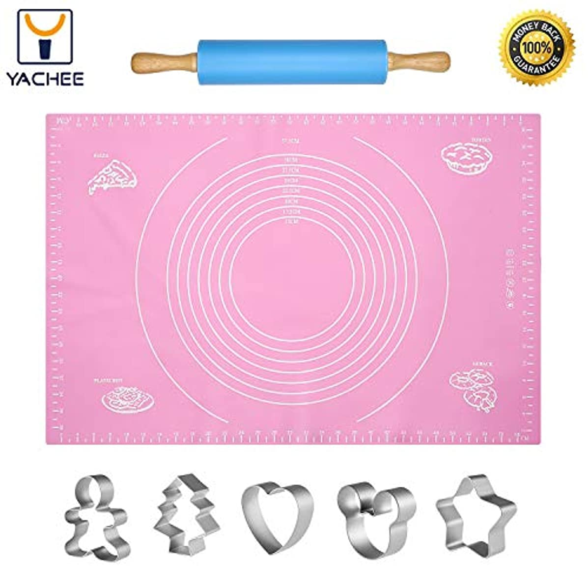Yachee Silicone Baking Mat Set for Pastry Rolling Dough with Measurements, Extra Large Liner Heat Resistance - BPA Free - Reusable - Non-Stick Pastry Board with Rolling Pin and 5 Cookie Cutters-Pink