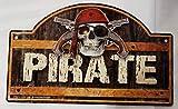 Bzh - Placa metálica (22,5 x 14 cm), diseño de pirata
