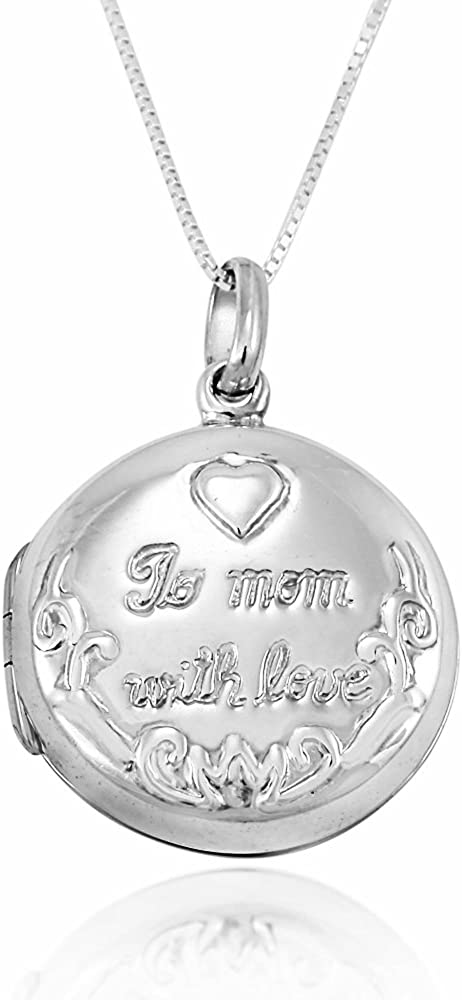 925 Sterling Silver To Surprise price Mom With Locket Sacramento Mall Nec Pendant Engraved Love