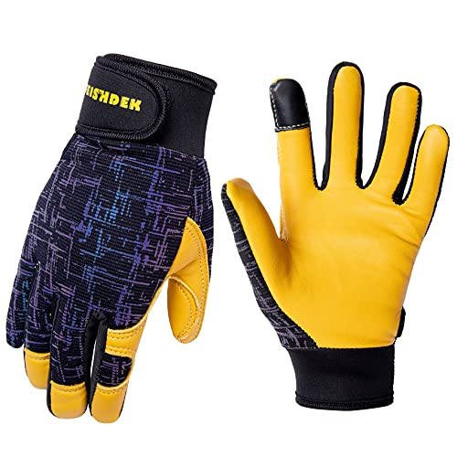 Kids Genuine Leather Work Gloves, Safety Gloves, Touch Screen, Reflective, Breathable Design, for Children Age 3-12 (Large, Black)