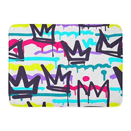AoLismini Paillassons Tapis de Bain Tapis de Porte extérieur/intérieur Motif Vert Tags Graffiti Noir et Blanc dans Hip Hop Street Skateboard Crown Salle de Bain Décor Tapis Tapis de Bain
