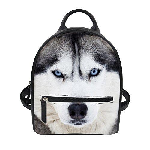Siberian Husky Print Mini Backpack Pu Leather for Women Girls Travel Shopping