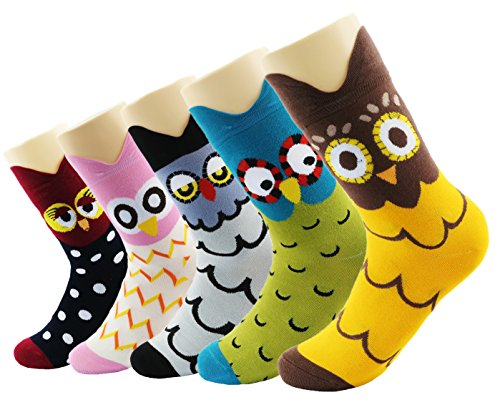 Neuheit Sokken Cotton Crew eenhoorn uil kat boerderij prinses zeemeerminsokken - Cartoon dierensokken - 5 stuks kerstsokken geschenkdoos