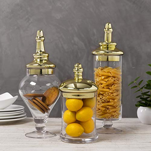 MyGift Antique-Theme Glass Apothecary Jars with Metallic Brass-Tone Lids, Set of 3