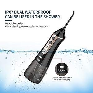 Munddusche Zahnreiniger Wasser Flosser - Liberex IPX7 Wasserdicht Portabel Oral Irrigator, mit 3 Modi, 5 Düsen, 300ml Wassertank, USB wiederaufladbarer Zahnreiniger für Zuhause, Reise