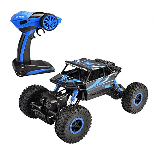Hapinic RC Car with Two Battery 4WD 2.4Ghz 1/18 Crawlers Off Road Vehicle Toy Remote Control Car Blue Color