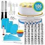 XGG 106-Piece Herramientas de la Placa giratoria Consejos de tuberías de Boquillas de la Torta de la hornada con boquillas de Acero Inoxidable de Silicona aflautada del Bolso (Size : 106 Blue Set)