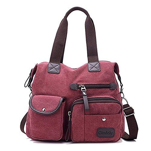 Gindoly Damen Canvas Handtasche Groß Modisch Umhängetasche Multi Tasche Schultertasche Hobo für Reisen Schule Shopping und Arbeit (Rot) EINWEG