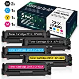 High Yield 5 Pack(2BK/1C/1Y/1M) 201X CF400X CF401X CF402X CF403X Toner Cartridge Replacement for HP Color Laserjet Pro M252dw M252n MFP M277n M277dw M277c6 M274n Printer Toner - by VaserInk