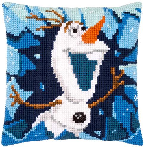 Kit de punto de cruz Vervaco: Cojín: Disney: Frozen Olaf, NA, 40 x 40 cm