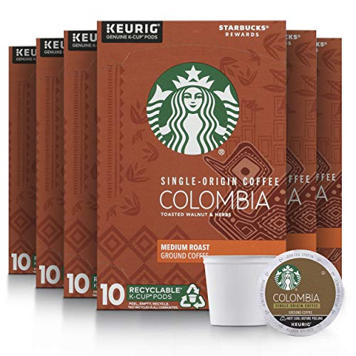 Starbucks Medium Roast K-Cup Coffee Pods, Colombia for Keurig Brewers, 10 Count (Pack of 6)