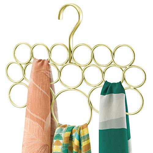 mDesign Schalhalter ? Schalbügel ? Aufbewahrung für Tücher, Krawatten, Gürtel ? Accessoires ohne Ziehfäden aufbewahren ? 18 Ringe ? gold/kupfer