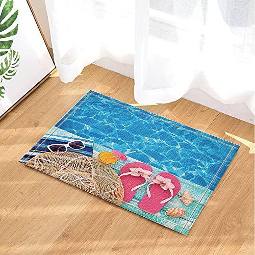 Las señoras de la Piscina Azul nadan Las Gafas de Sol beben Las Zapatillas del Sombrero del Sol Alfombra de baño Antideslizante para Interiores y Exteriores Felpudo para niños 80x50cm