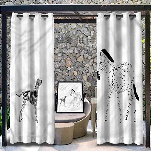 Modern Polyester Cabana Curtain for Pergola/Sunroom Animals Zebra with Dog Art 112' W by 95' L(K284cm x G241cm)