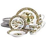 Gibson Home Christmas Toile 16 Piece Dinnerware...