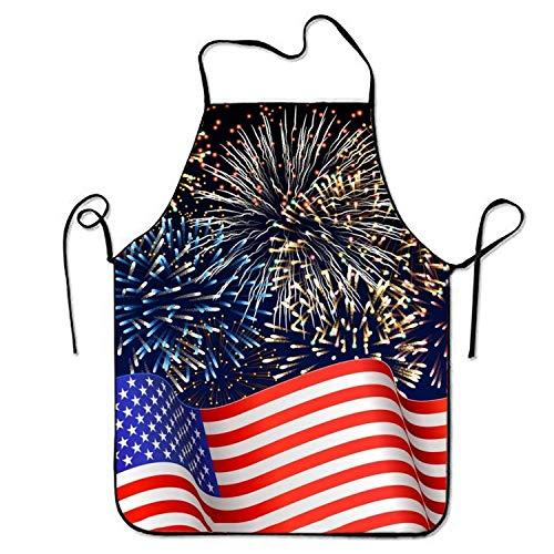 Küchen-Schürze Haltbare Usa-Flagge Mit Feuerwerk Grill-Schürze Lustigem Schürze Lustige Baumwoll-Schürze Für Küche, Cafe, Kochen