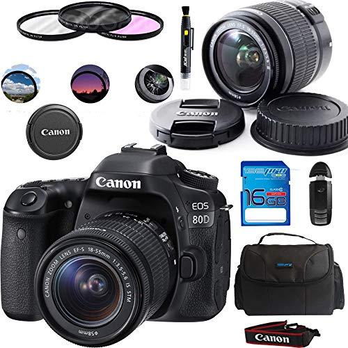 Canon EOS 80D Digital SLR Kit with EF-S 18-55mm f 3.5-5.6 Image Stabilization STM Lens (Black) + Basic Accessories Bundle