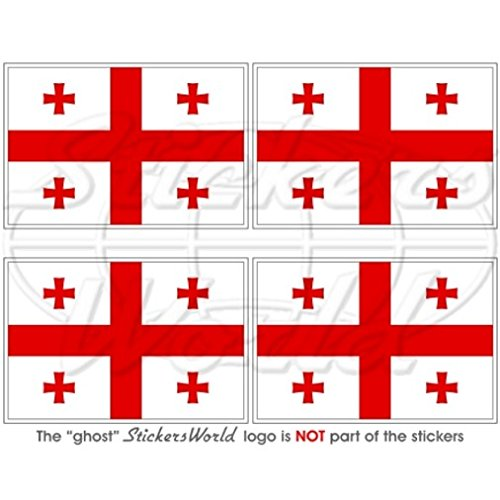 Georgien Georgian Flagge 5,1cm (50mm) Vinyl bumper-helmet Sticker, Aufkleber X4