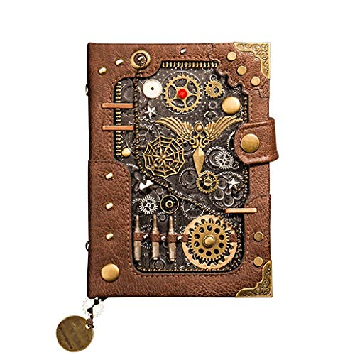 Cuaderno Cuaderno Creativo Cuaderno de Diario de Personalidad,Bloc de Notas de Estilo Retro Punk, Cuaderno en Blanco de Tapa Dura de 5 * 6.5 Pulgadas Cuaderno Clásico con (Color : Brown Style)