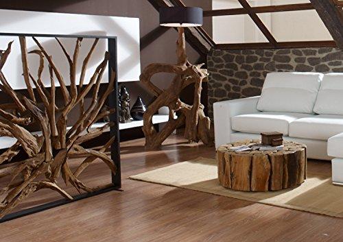 Möbel Bressmer Design Raumteiler Teak Holz Maze | Hochwertiger Sichtschutz spanische Wand Holzoptik massiv | Paravent Trennwand für Wohnzimmer Praxis Büro |