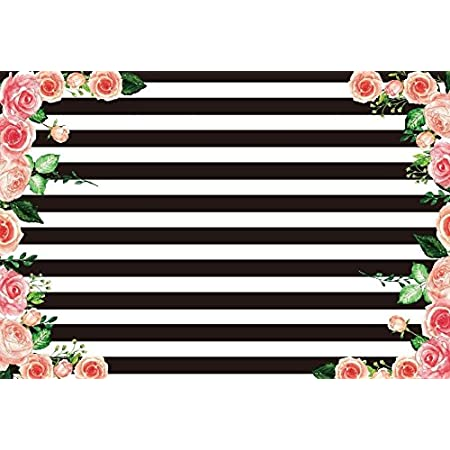 GoEoo 7X5ft Stripes Backdrop Flowers Decorated Black and White Stripes Backdrops Birthday Wedding Adults Party Banner Photo Studio Props LYGE952