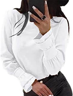 OTW Womens Long Sleeve Shirts Casual Baggy Plain Pullover Tee Shirts Blouse Top