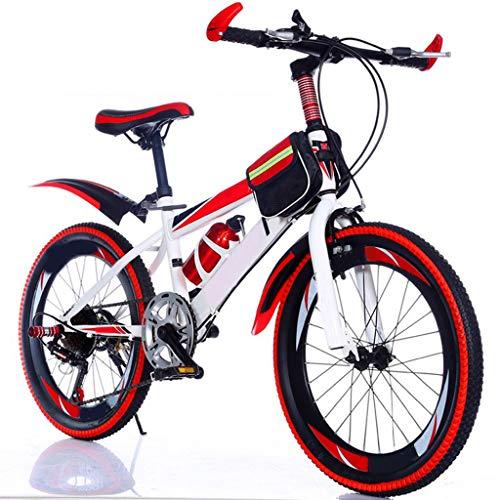 ANLW Kinder Dual Disc Brakemountain Fahrrad, faltbares Fahrrad 22 Zoll 7-Gang-Fahrrad-Adjustable Jugend-Fahrrad mit Glocke accessoriesetc,Rot