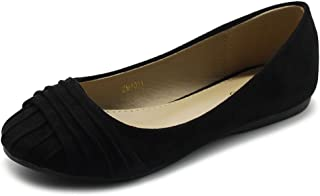Ollio Women's Shoes Faux Suede Pleated Muliti Color Comforts Ballet Flat
